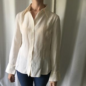 Ann Taylor 100% silk cream button up blouse